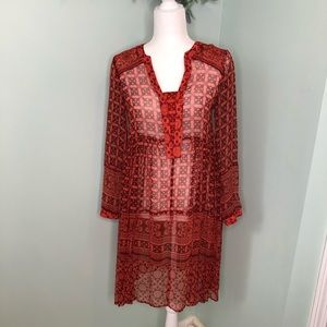 Anthro Maeve Canna Sheer Red Aztec Swing Dress 0